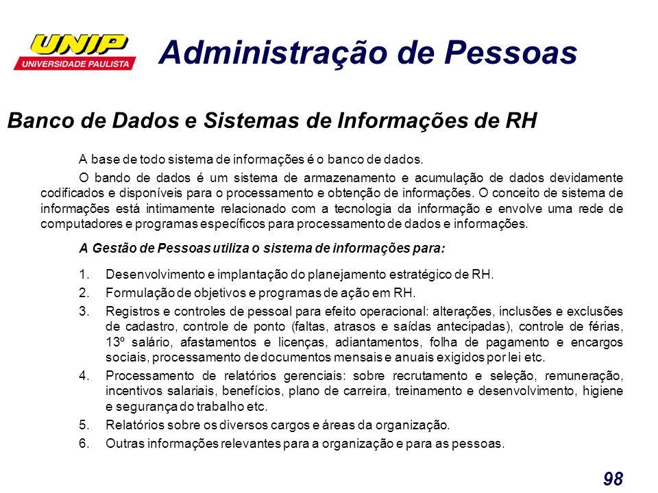 Administração de Pessoas 98 Banco de Dados e Sistemas de Informações de RH A base de todo sistema de informações é o banco de dados. O bando de dados