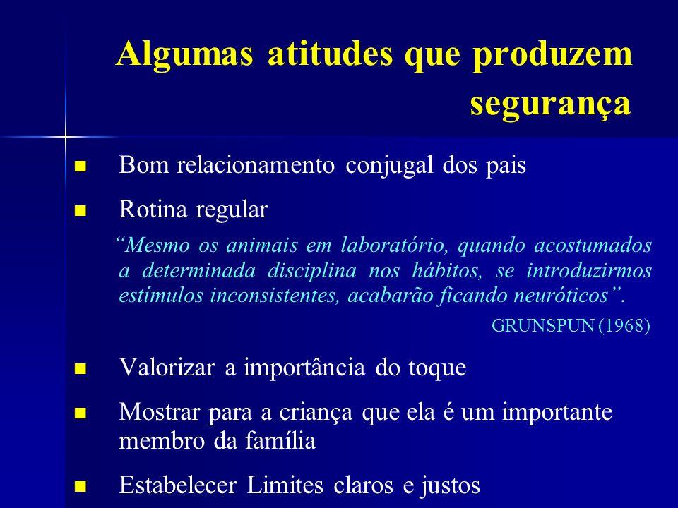 Algumas atitudes que produzem segurança Bom relacionamento conjugal dos pais Rotina regular Mesmo os animais em laboratório, quando acostumados a dete