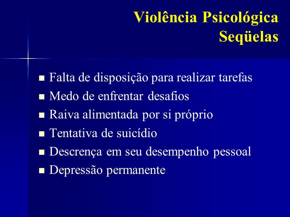 Violência Psicológica Seqüelas Falta de disposição para realizar tarefas Medo de enfrentar desafios Raiva alimentada por si próprio Tentativa de suicí