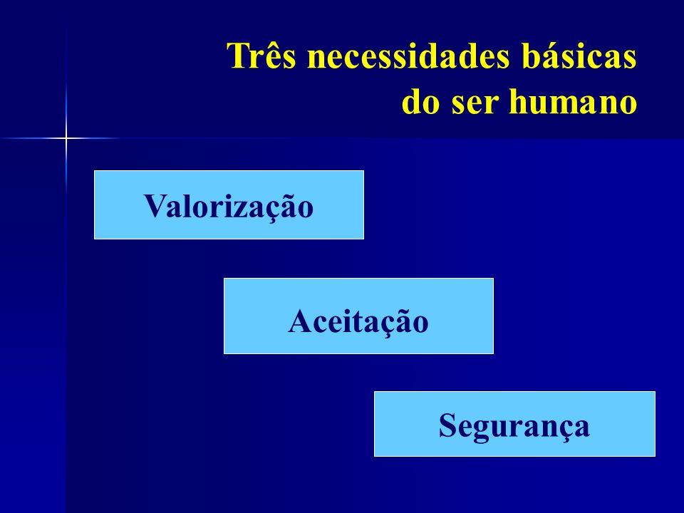 Três necessidades básicas do ser humano Valorização Aceitação Segurança