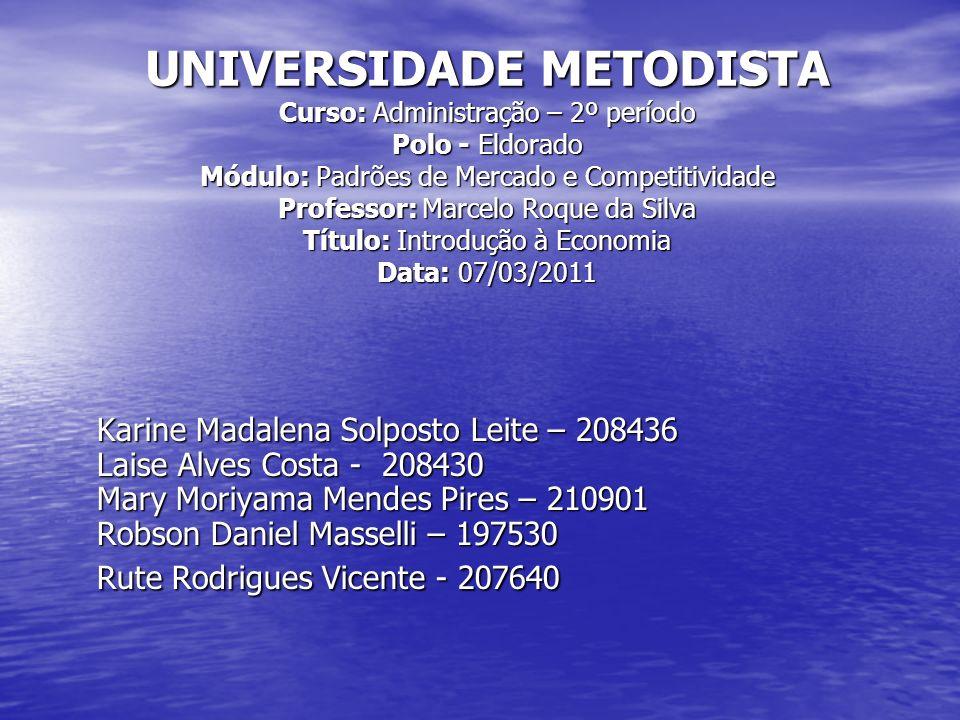 UNIVERSIDADE METODISTA Curso: Administração – 2º período Polo - Eldorado Módulo: Padrões de Mercado e Competitividade Professor: Marcelo Roque da Silv