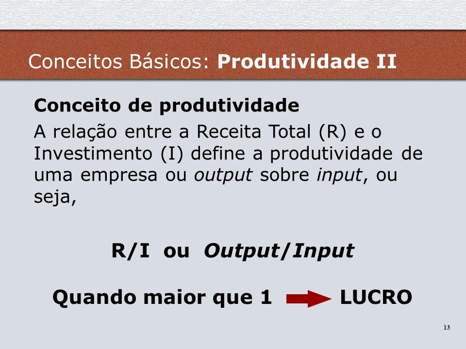 13 R/I ou Output/Input Quando maior que 1 LUCRO Conceitos Básicos: Produtividade II Conceito de produtividade A relação entre a Receita Total (R) e o