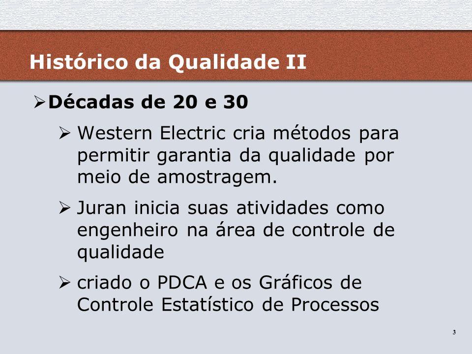 3 3 Histórico da Qualidade II Décadas de 20 e 30 Western Electric cria métodos para permitir garantia da qualidade por meio de amostragem. Juran inici