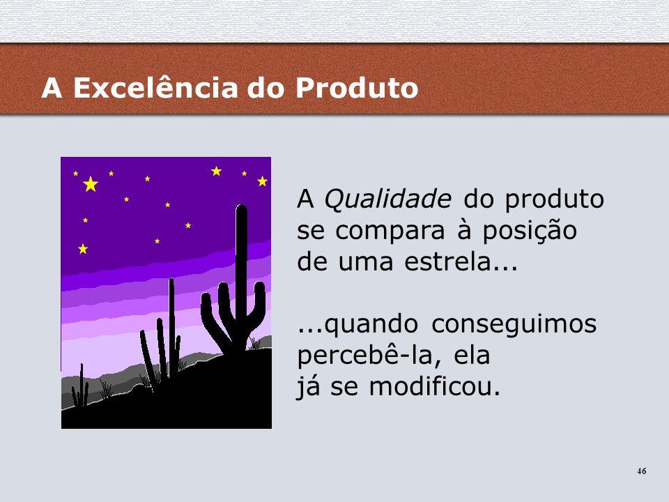 46 A Excelência do Produto A Qualidade do produto se compara à posição de uma estrela......quando conseguimos percebê-la, ela já se modificou.