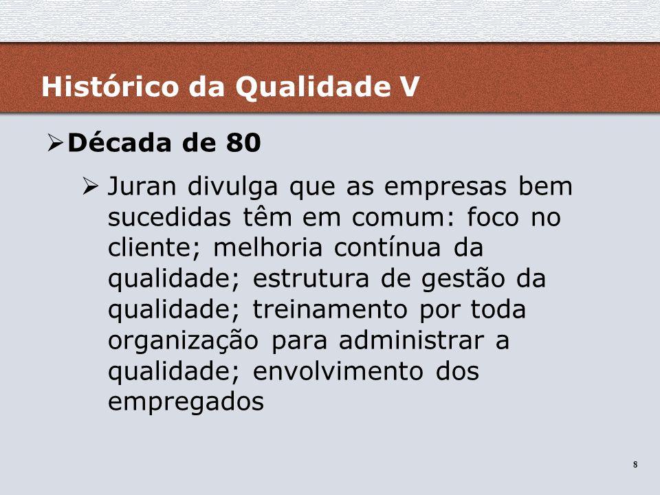 8 8 Histórico da Qualidade V Década de 80 Juran divulga que as empresas bem sucedidas têm em comum: foco no cliente; melhoria contínua da qualidade; e