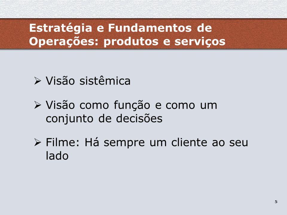 6 Manufatura e Serviços / Estratégia de Operações Os tipos de produção Sistemas de operações Caso JVC (filme: Competindo pelo futuro) Estratégia e Fundamentos de Operações: produtos e serviços