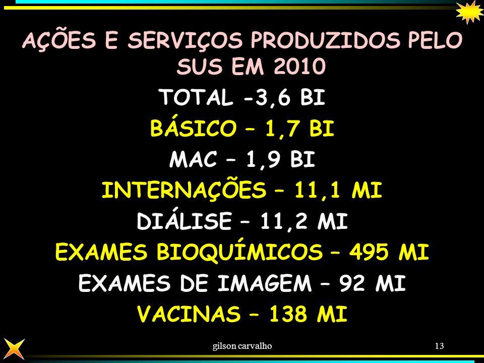 GILSON CARVALHO 12 LEITOS TOTAL - 443.210 PRIVADOS - 294.244 – 66,4% PÚBLICOS -148.966 -33,6% (FED. (17.189) – EST. (61.699) MUN. (70.078) ) DISTRIBUI