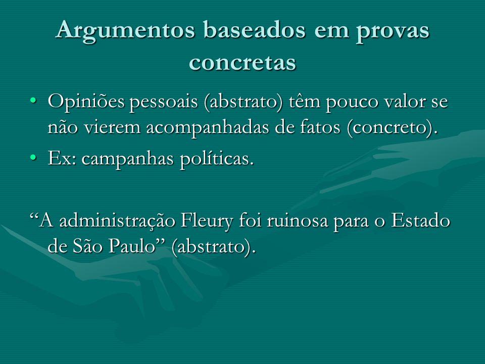Argumentos baseados em provas concretas Opiniões pessoais (abstrato) têm pouco valor se não vierem acompanhadas de fatos (concreto). Ex: campanhas pol