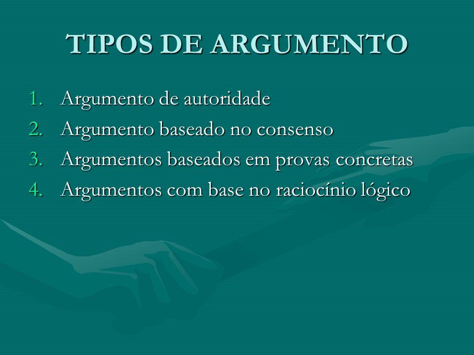 TIPOS DE ARGUMENTO 1.Argumento de autoridade 2.Argumento baseado no consenso 3.Argumentos baseados em provas concretas 4.Argumentos com base no racioc