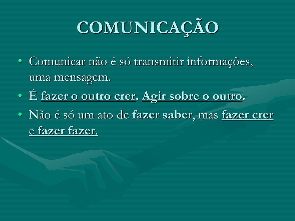 COMUNICAÇÃO Comunicar não é só transmitir informações, uma mensagem. É fazer o outro crer. Agir sobre o outro. Não é só um ato de fazer saber, mas faz
