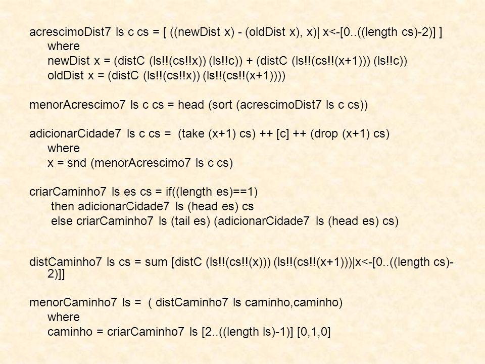 acrescimoDist7 ls c cs = [ ((newDist x) - (oldDist x), x)  x<-[0..((length cs)-2)] ] where newDist x = (distC (ls!!(cs!!x)) (ls!!c)) + (distC (ls!!(cs