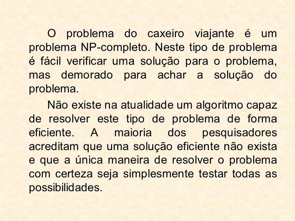 O problema do caxeiro viajante é um problema NP-completo. Neste tipo de problema é fácil verificar uma solução para o problema, mas demorado para acha