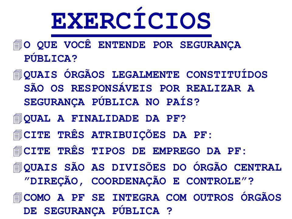 EXERCÍCIOS 4O QUE VOCÊ ENTENDE POR SEGURANÇA PÚBLICA? 4QUAIS ÓRGÃOS LEGALMENTE CONSTITUÍDOS SÃO OS RESPONSÁVEIS POR REALIZAR A SEGURANÇA PÚBLICA NO PA