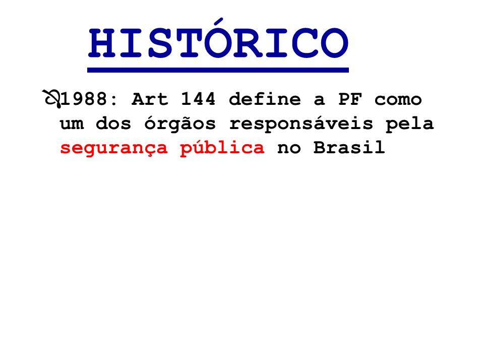 HISTÓRICO Ô1988: Art 144 define a PF como um dos órgãos responsáveis pela segurança pública no Brasil
