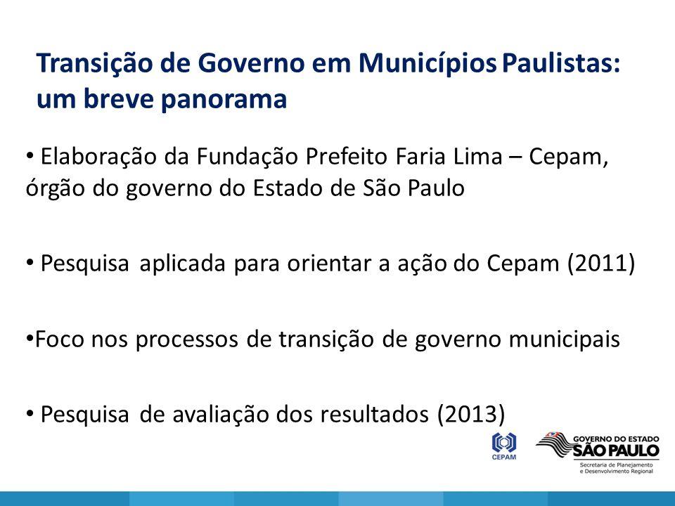 Transição de Governo em Municípios Paulistas: um breve panorama Elaboração da Fundação Prefeito Faria Lima – Cepam, órgão do governo do Estado de São