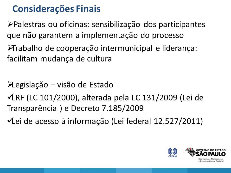 Considerações Finais Palestras ou oficinas: sensibilização dos participantes que não garantem a implementação do processo Trabalho de cooperação inter
