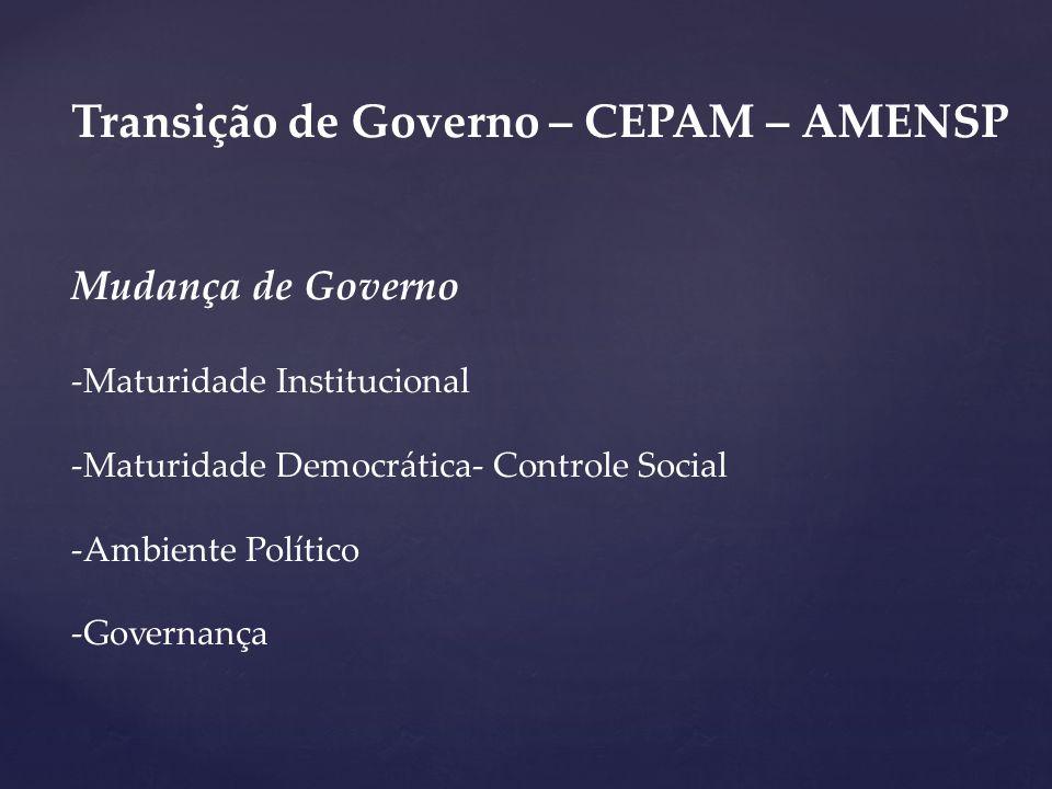 Transição de Governo – CEPAM – AMENSP Mudança de Governo -Maturidade Institucional -Maturidade Democrática- Controle Social -Ambiente Político -Govern