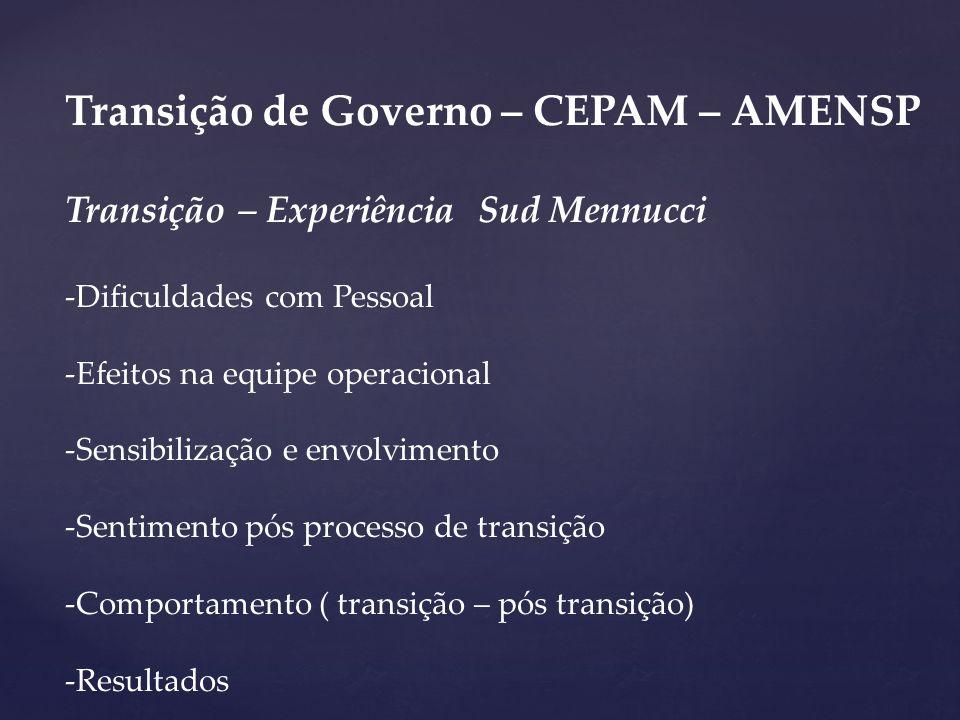 Transição de Governo – CEPAM – AMENSP Transição – Experiência Sud Mennucci -Dificuldades com Pessoal -Efeitos na equipe operacional -Sensibilização e
