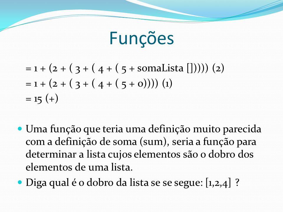 Funções = 1 + (2 + ( 3 + ( 4 + ( 5 + somaLista [])))) (2) = 1 + (2 + ( 3 + ( 4 + ( 5 + 0)))) (1) = 15 (+) Uma função que teria uma definição muito par