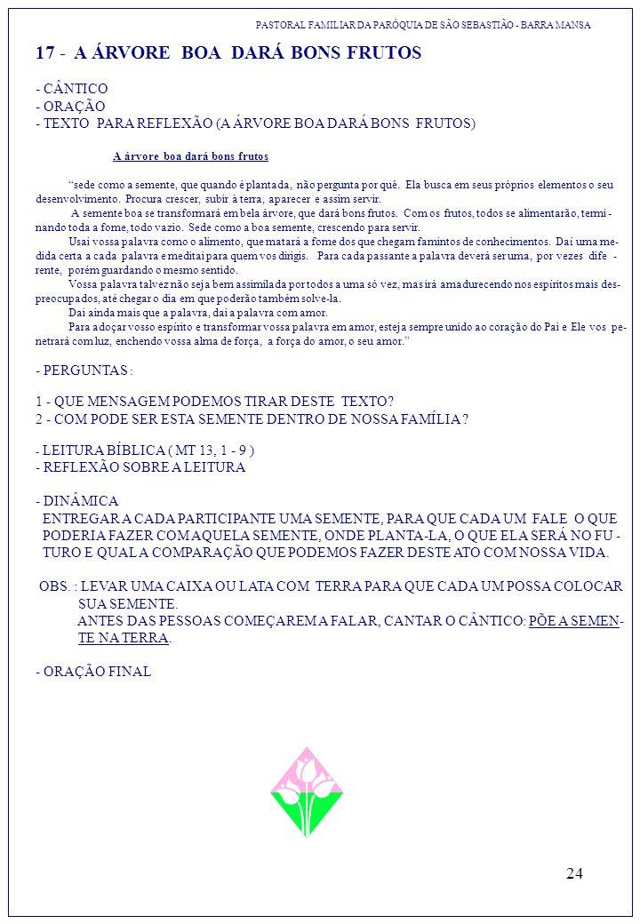 24 17 - A ÁRVORE BOA DARÁ BONS FRUTOS PASTORAL FAMILIAR DA PARÓQUIA DE SÃO SEBASTIÃO - BARRA MANSA - CÂNTICO - ORAÇÃO - TEXTO PARA REFLEXÃO (A ÁRVORE