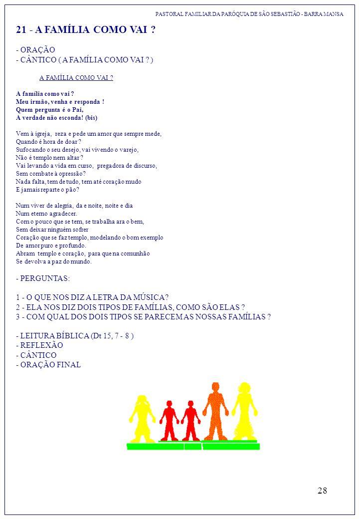 28 21 - A FAMÍLIA COMO VAI ? PASTORAL FAMILIAR DA PARÓQUIA DE SÃO SEBASTIÃO - BARRA MANSA - ORAÇÃO - CÂNTICO ( A FAMÍLIA COMO VAI ? ) A FAMÍLIA COMO V
