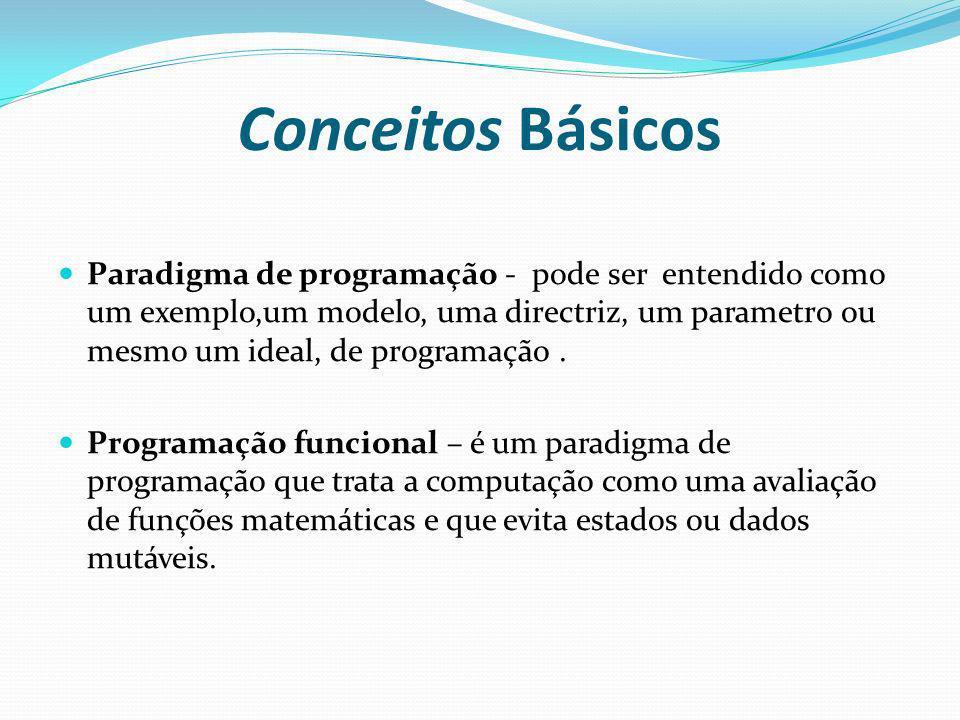 Conceitos Básicos Paradigma de programação - pode ser entendido como um exemplo,um modelo, uma directriz, um parametro ou mesmo um ideal, de programaç