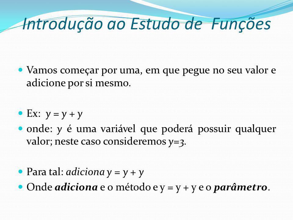 Introdução ao Estudo de Funções Vamos começar por uma, em que pegue no seu valor e adicione por si mesmo. Ex: y = y + y onde: y é uma variável que pod
