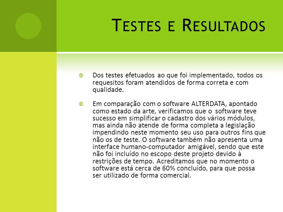 T ESTES E R ESULTADOS Dos testes efetuados ao que foi implementado, todos os requesitos foram atendidos de forma correta e com qualidade. Em comparaçã