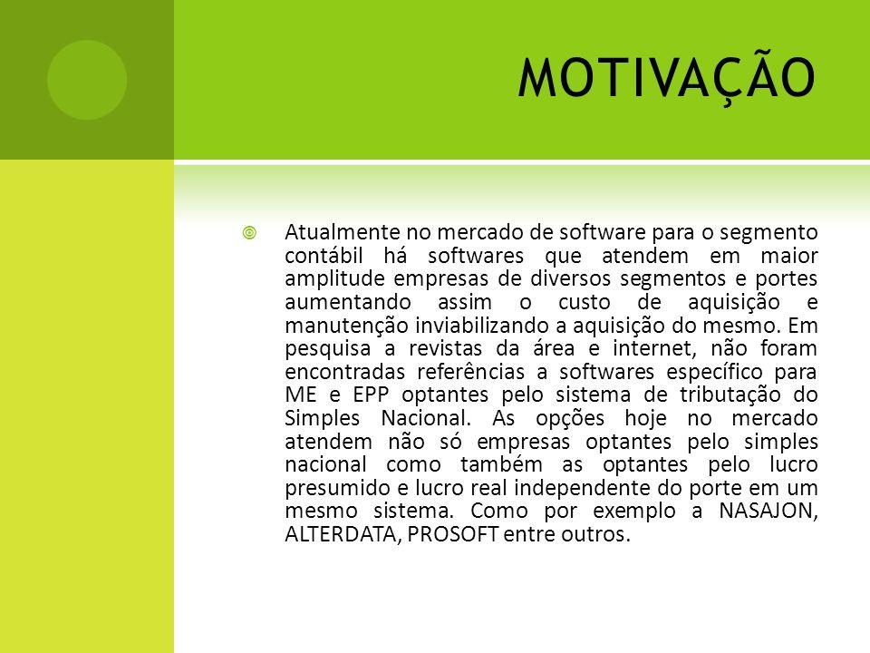 MOTIVAÇÃO Atualmente no mercado de software para o segmento contábil há softwares que atendem em maior amplitude empresas de diversos segmentos e port