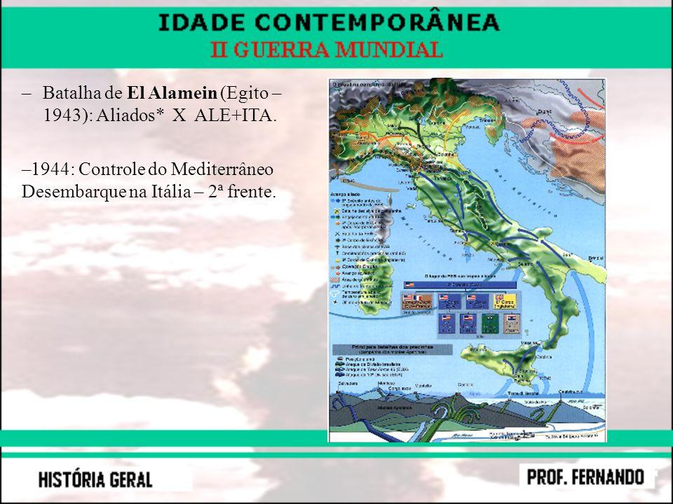 –Batalha de El Alamein (Egito – 1943): Aliados* X ALE+ITA. –1944: Controle do Mediterrâneo Desembarque na Itália – 2ª frente.