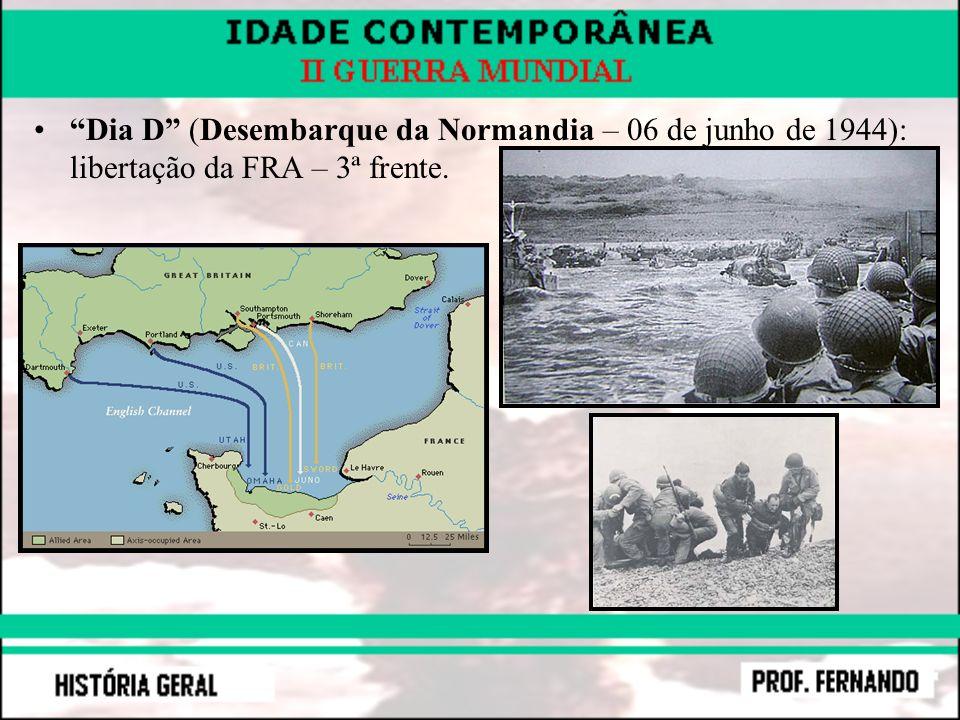 Dia D (Desembarque da Normandia – 06 de junho de 1944): libertação da FRA – 3ª frente.