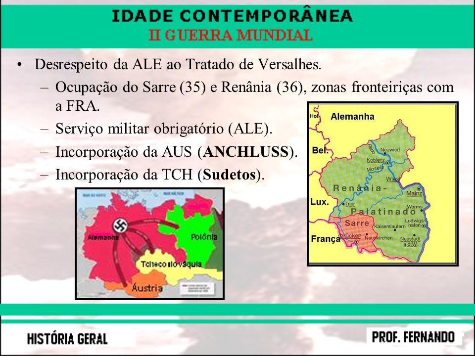 Desrespeito da ALE ao Tratado de Versalhes. –Ocupação do Sarre (35) e Renânia (36), zonas fronteiriças com a FRA. –Serviço militar obrigatório (ALE).