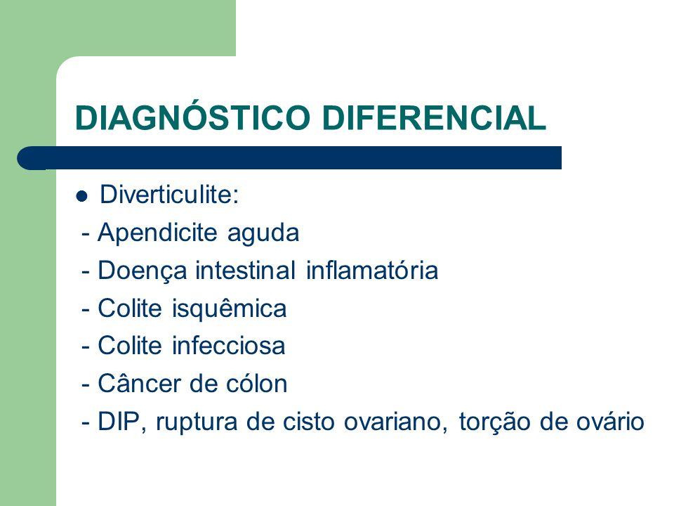 DIAGNÓSTICO DIFERENCIAL Diverticulite: - Apendicite aguda - Doença intestinal inflamatória - Colite isquêmica - Colite infecciosa - Câncer de cólon -