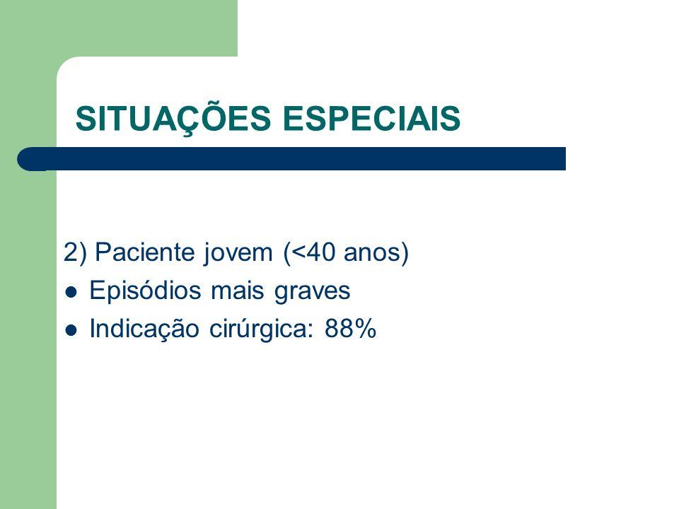 SITUAÇÕES ESPECIAIS 2) Paciente jovem (<40 anos) Episódios mais graves Indicação cirúrgica: 88%