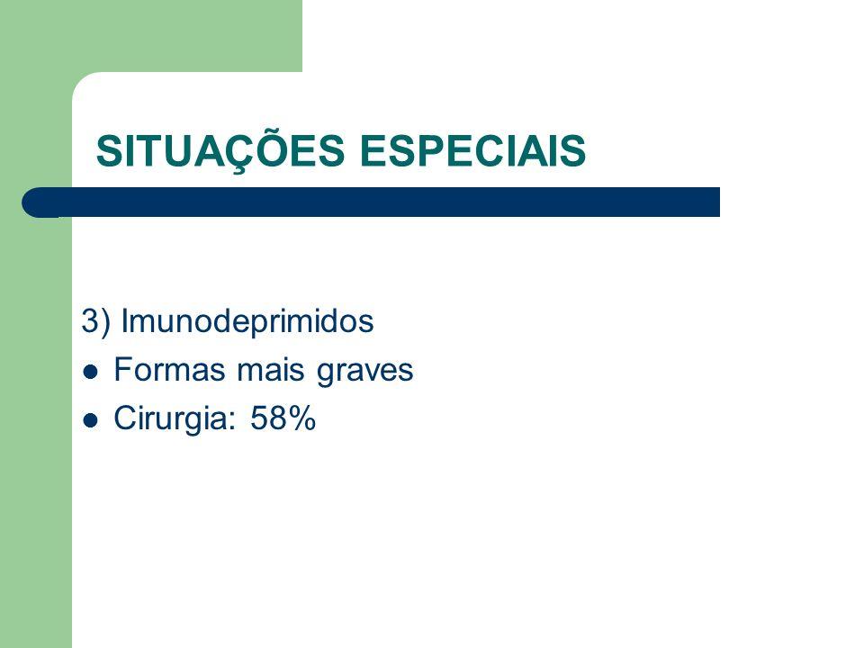SITUAÇÕES ESPECIAIS 3) Imunodeprimidos Formas mais graves Cirurgia: 58%
