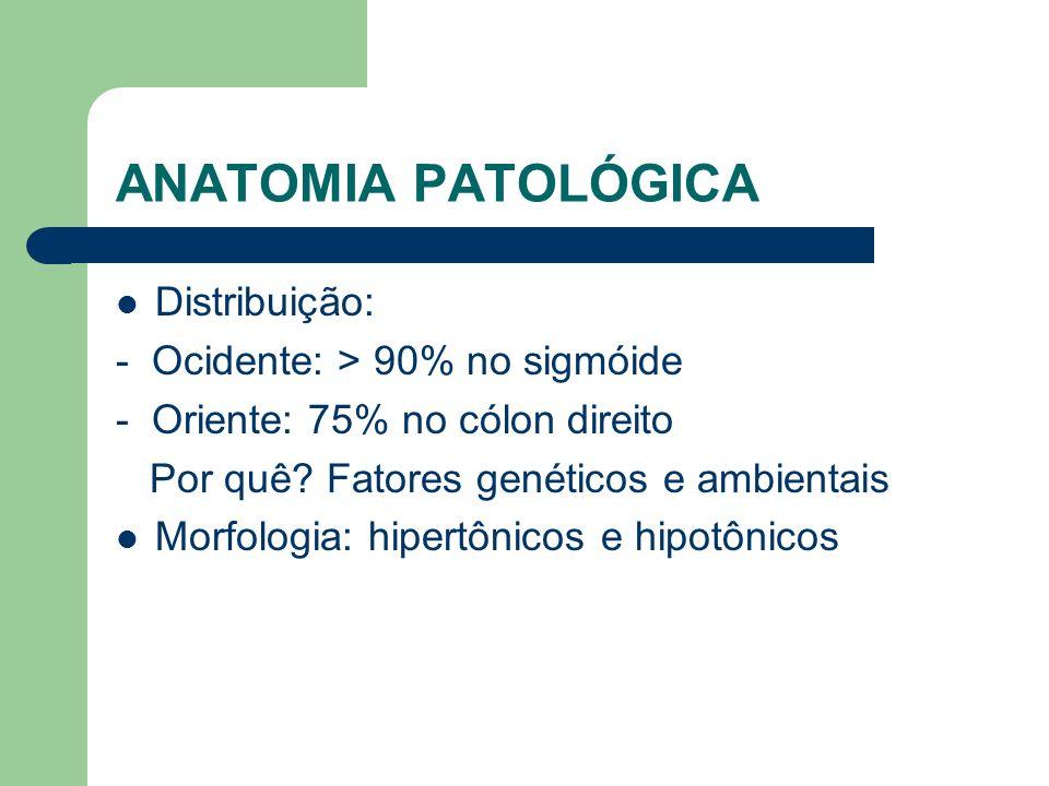 HEMORRAGIA DIVERTICULAR 3-5% dos pacientes com diverticulose Causa mais comum de hematoquezia significativa Cólon direito (>50%) Associação com AINE Hematoquezia indolor Autolimitada (70-80%) Ressangramento: 22-38%