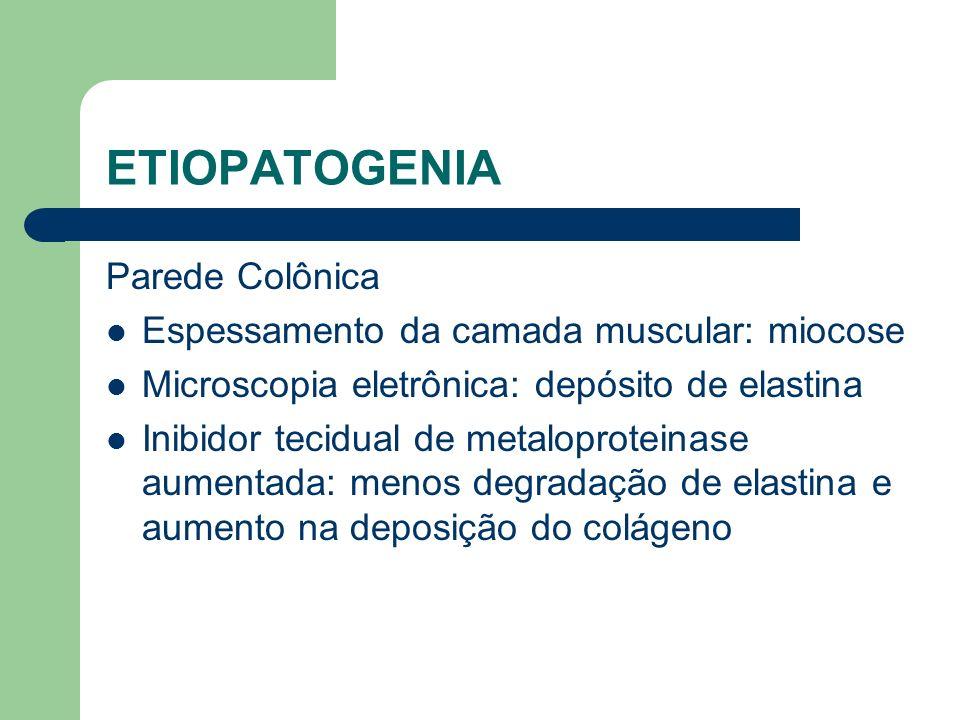 ETIOPATOGENIA Parede Colônica Espessamento da camada muscular: miocose Microscopia eletrônica: depósito de elastina Inibidor tecidual de metaloprotein