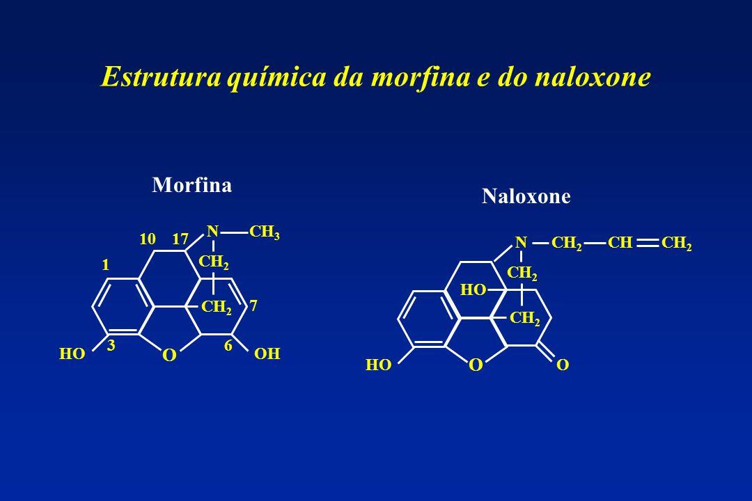 1 3 1710 6 7 N CH 2 CH 3 OHHO Morfina O Naloxone N CH 2 HOO O CHCH 2 Estrutura química da morfina e do naloxone