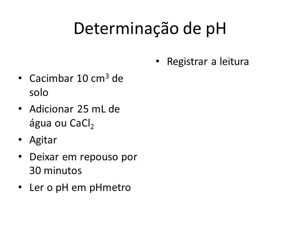 Determinação de pH Cacimbar 10 cm 3 de solo Adicionar 25 mL de água ou CaCl 2 Agitar Deixar em repouso por 30 minutos Ler o pH em pHmetro Registrar a