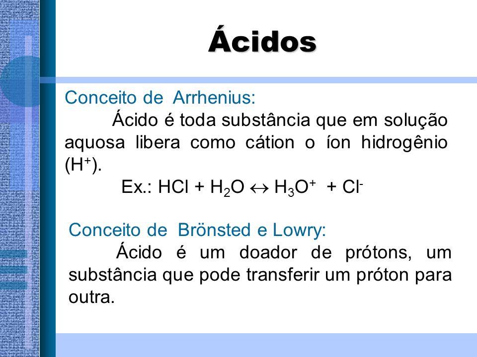 Ácidos Conceito de Arrhenius: Ácido é toda substância que em solução aquosa libera como cátion o íon hidrogênio (H + ). Ex.: HCl + H 2 O H 3 O + + Cl