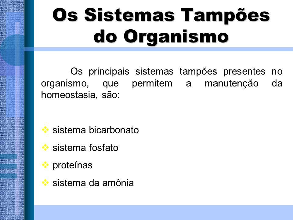 Os Sistemas Tampões do Organismo Os principais sistemas tampões presentes no organismo, que permitem a manutenção da homeostasia, são: sistema bicarbo