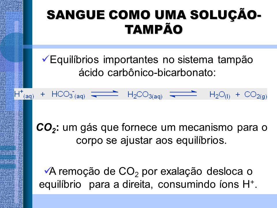 Equilíbrios importantes no sistema tampão ácido carbônico-bicarbonato: CO 2 : um gás que fornece um mecanismo para o corpo se ajustar aos equilíbrios.