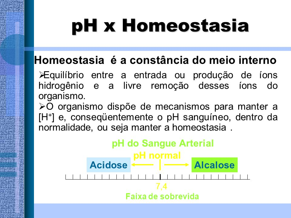 Aumento da [H + ] 7,4 Acidose Alcalose Queda do pH Acúmulo de ácidos Acúmulo de bases Perda de ácidos Perda de bases Diminuição da [H + ] Escala de pH Aumento do pH Alterações no pH