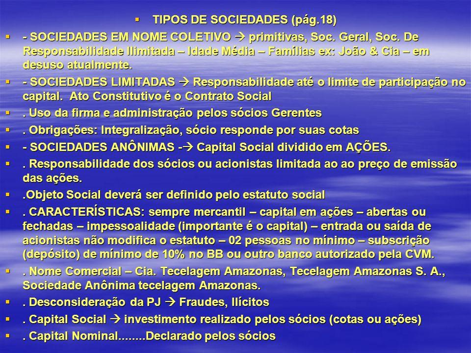 TIPOS DE SOCIEDADES (pág.18) TIPOS DE SOCIEDADES (pág.18) - SOCIEDADES EM NOME COLETIVO primitivas, Soc.