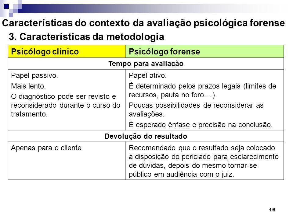 16 Características do contexto da avaliação psicológica forense 3. Características da metodologia Psicólogo clínicoPsicólogo forense Tempo para avalia