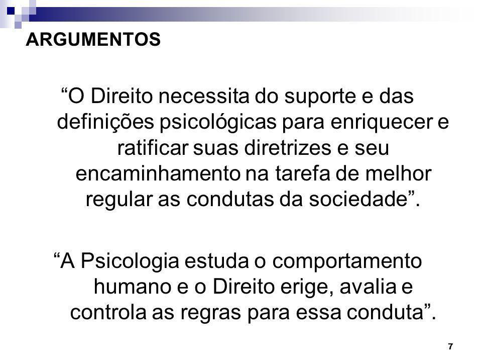 7 ARGUMENTOS O Direito necessita do suporte e das definições psicológicas para enriquecer e ratificar suas diretrizes e seu encaminhamento na tarefa d