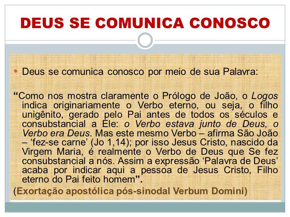 DEUS SE COMUNICA CONOSCO Deus se comunica conosco por meio de sua Palavra: Como nos mostra claramente o Prólogo de João, o Logos indica originariament