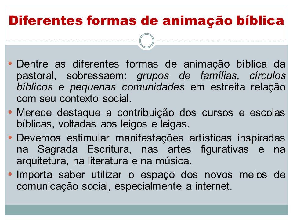 Diferentes formas de animação bíblica Dentre as diferentes formas de animação bíblica da pastoral, sobressaem: grupos de famílias, círculos bíblicos e