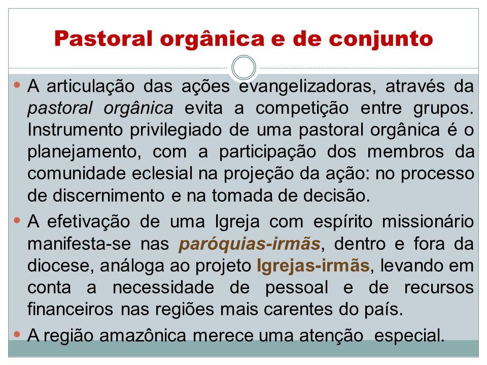 Pastoral orgânica e de conjunto A articulação das ações evangelizadoras, através da pastoral orgânica evita a competição entre grupos. Instrumento pri