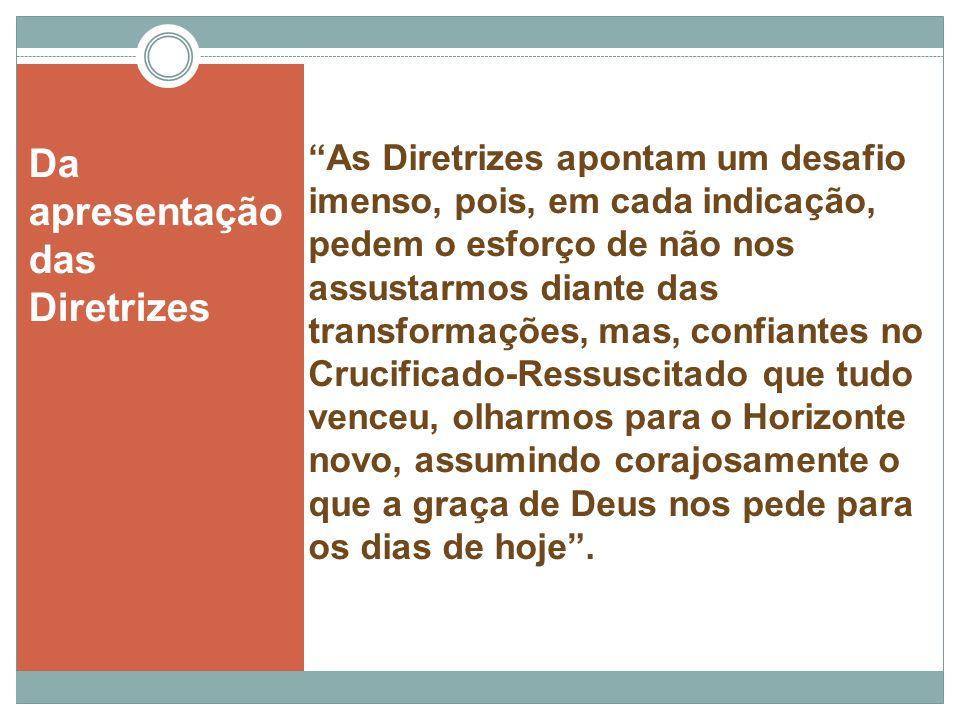 As Diretrizes apontam um desafio imenso, pois, em cada indicação, pedem o esforço de não nos assustarmos diante das transformações, mas, confiantes no